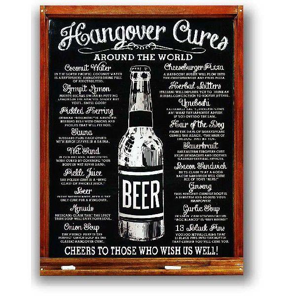 BEER 二日酔いを治す方法 Hangover Cures レトロシリーズ アメリカンブリキ看板