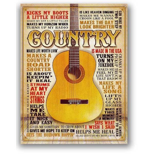 カントリーギター COUNTRY 楽器系 アメリカンブリキ看板 アメリカ 雑貨 アメリカン雑貨|veryberry