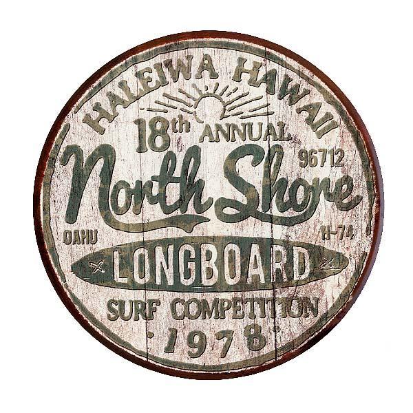 ノースショア サーフィン大会 レトロ調 ラウンド 円形 ハレイワ アメリカンブリキ看板