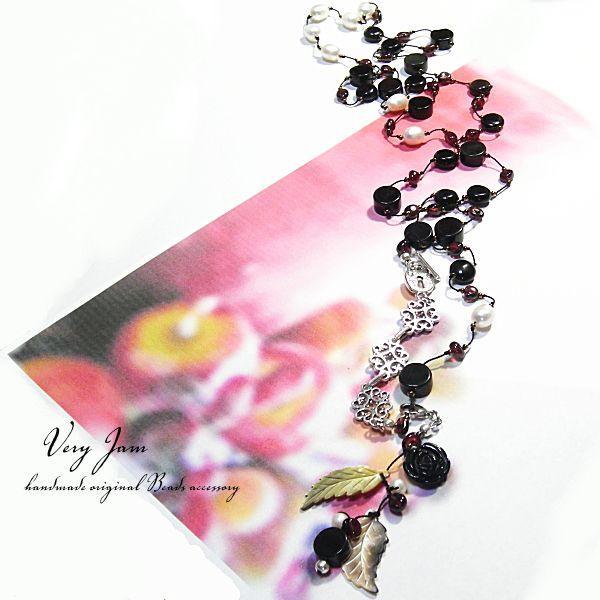 天然石オニキスの薔薇。淡水真珠&ガーネットブラックmixロングネックレス yvj|veryjam|05