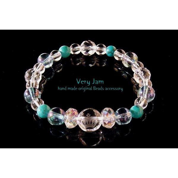 パワーストーン ブレスレット メンズ天然石 数珠ブレス キュートな彫刻水晶 ターコイズのブレスレットvj veryjam