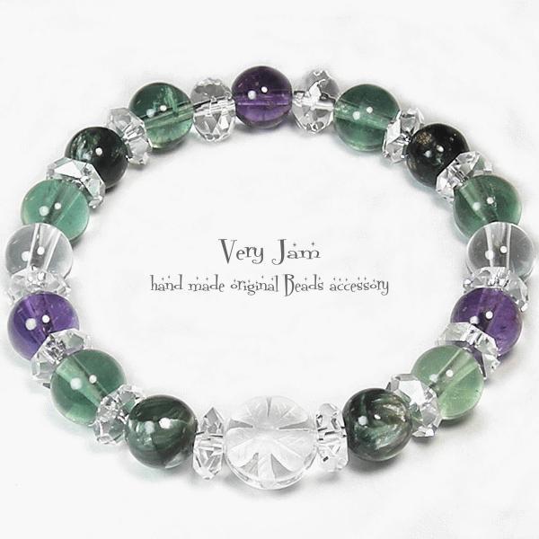 天然石パワーストーン水晶手彫り幸せクローバーlightセラフィナイト×グリーンフローライト×アメジスト数珠ブレス# veryjam 02