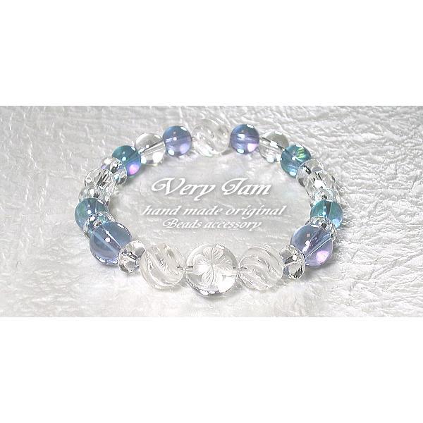 パワーストーン ブレスレット メンズ 水晶幸運のクローバー・ダブルオーラ&ツイスト水晶M 数珠ブレスvj|veryjam