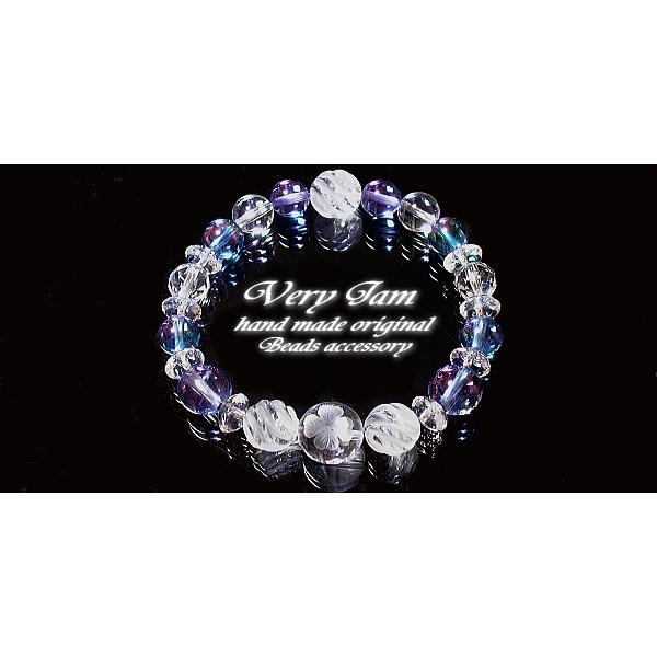 パワーストーン ブレスレット メンズ 水晶幸運のクローバー・ダブルオーラ&ツイスト水晶M 数珠ブレスvj|veryjam|03