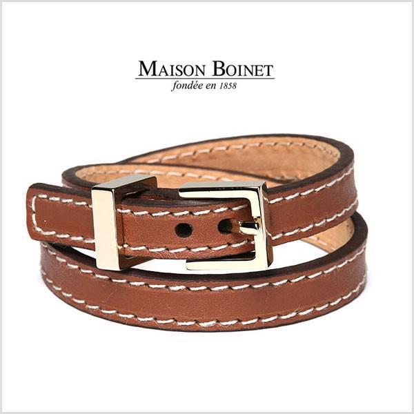 メゾンボワネ MAISON BOINET ブレスレット 秋冬 95100G レザー レディース フランス製 レザーワイドブレス