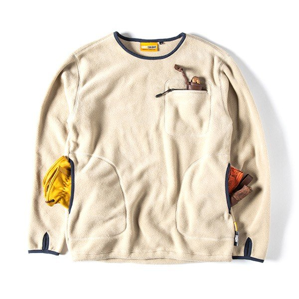 グリップスワニー Grip Swany Polartec Camp Pocket Fleece Crew Beige GSC-30|vic2|02
