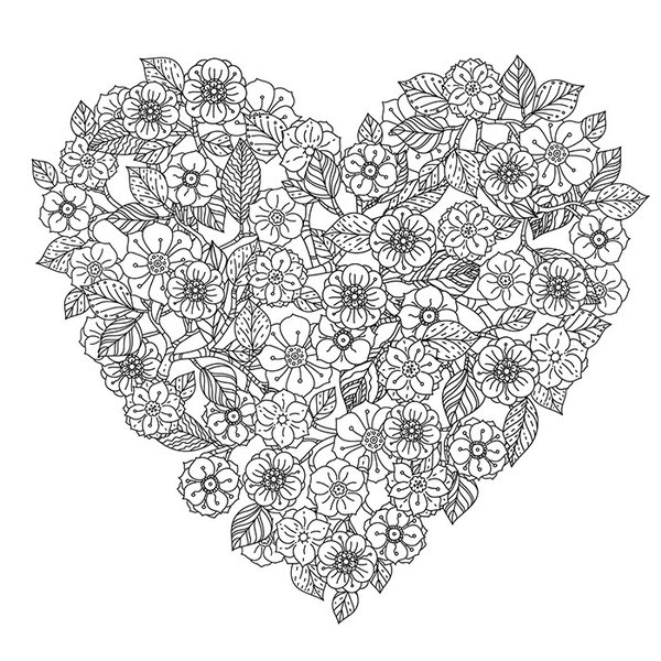 ウォールステッカー 花 ハート 大人の塗り絵 ぬり絵 シール インテリア