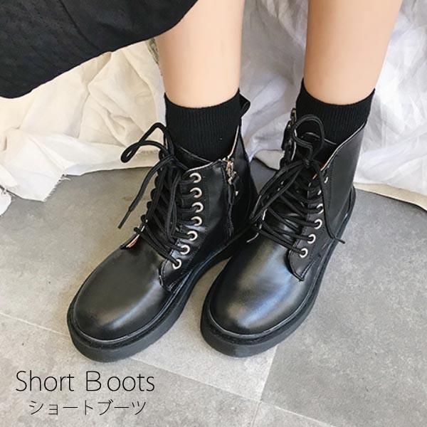 ブーツ ショートブーツ 厚底 ミリタリーブーツ レースアップ 編み上げ レディース ワークブーツ フェイクレザー 靴 セール