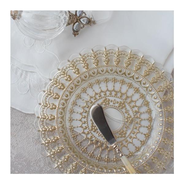 洋食器 おしゃれ テーブルウェア フリルレースガラスプレート(ゴールド) Mサイズ