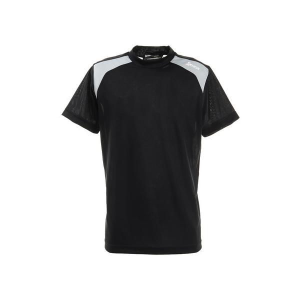日曜限定SBユーザー+21倍 スリクソン(SRIXON) 配色切り替え半袖モックネックシャツ RGMRJA05-BK00 (メンズ)