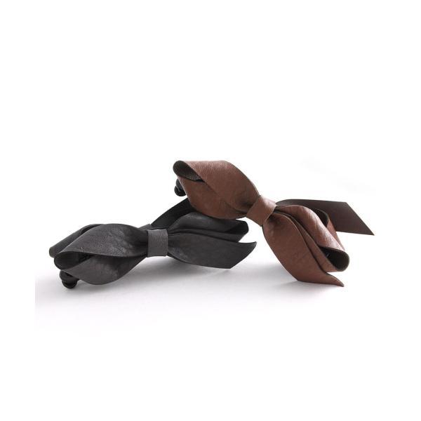 バナナクリップ レザー調 リボン フェイクレザー デイリー ヘアクリップ ヘアアクセサリー H7115