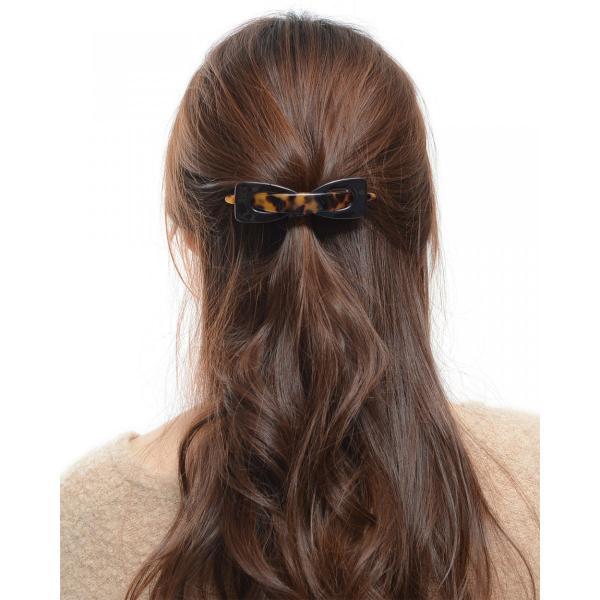 バレッタ 大 髪留め シンプル リボン べっ甲風 ヘアアクセサリー ギフト プレゼント  人気 和