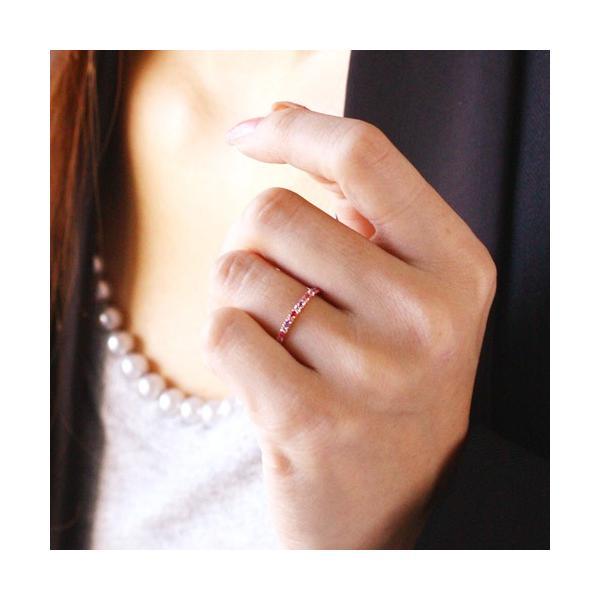 送料無料 天然石マルチハーフエタニティーリング 指輪 ビジューブーケ(ピンク)〜bijou bouquet〜 ルビー/ピンクトルマリン/ムーンストーン/アメジスト|virgindiamond|03