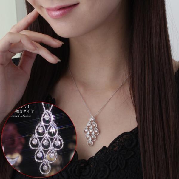 送料無料 天然ダイヤモンド1.0ct 揺れるダイヤペンダント・ネックレス K18WGホワイトゴールド 天然ダイヤモンド レディース|virgindiamond