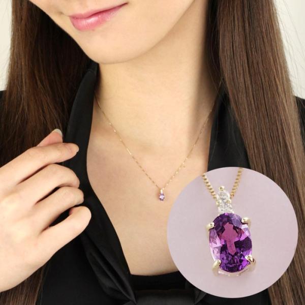 送料無料 天然ダイヤ・バイオレットサファイア×K10ゴールドネックレス(鑑別書付) 天然ダイヤモンド レディース|virgindiamond