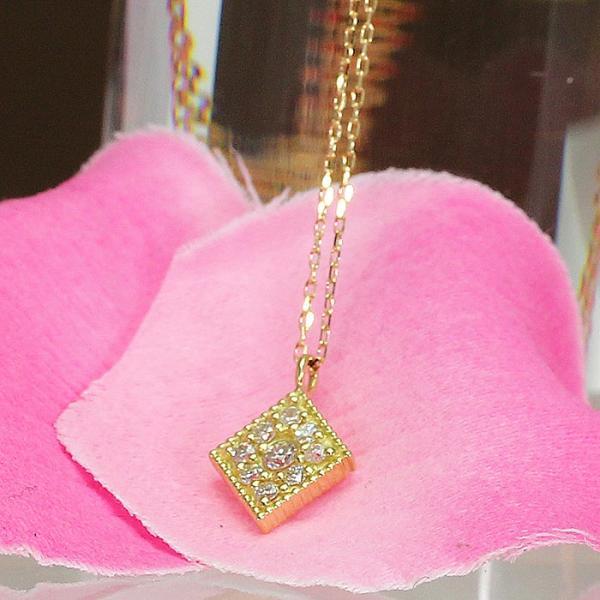ダイヤモンド ペンダント ネックレス レディース スクエア K18 ホワイトゴールド イエローゴールド virgindiamond
