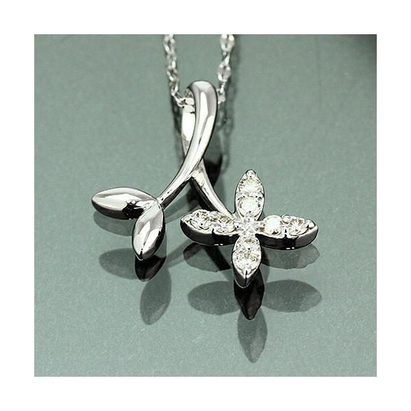 送料無料 工房独自のネックレスが好評 天然ダイヤモンド 計約0.11ct 4フラワー ペンダント ネックレス K18WG(18金ホワイトゴールド)レディース|virgindiamond