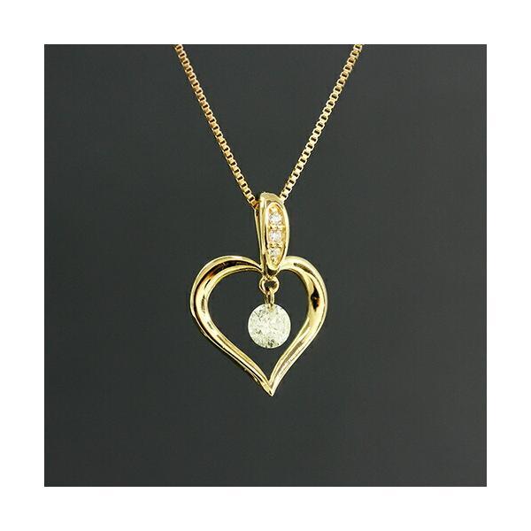 送料無料 New Version ダイヤモンドが揺れる   オープンハート1粒 天然ダイヤモンド約0.13ct+計0.02ct × K18WG イエローゴールドペンダント ネックレス virgindiamond
