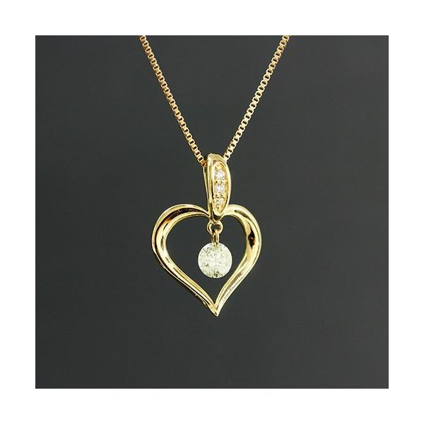 送料無料 New Version ダイヤモンドが揺れる   オープンハート1粒 天然ダイヤモンド約0.13ct+計0.02ct × K18WG イエローゴールドペンダント ネックレス virgindiamond 02