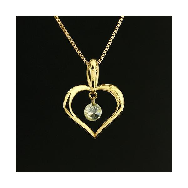 送料無料 New Version ダイヤモンドが揺れる   オープンハート1粒 天然ダイヤモンド約0.13ct+計0.02ct × K18WG イエローゴールドペンダント ネックレス virgindiamond 03