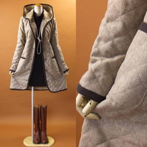 (ダウン 中綿)コートコート ツイード キルティング 中綿 1253m|visage-souriant1208