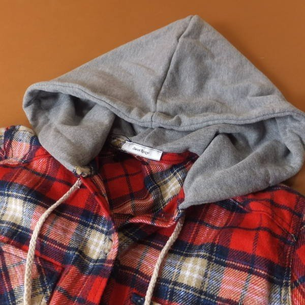 チェック柄 パーカー スタイル シャツ ワンピース 1631r|visage-souriant1208|03