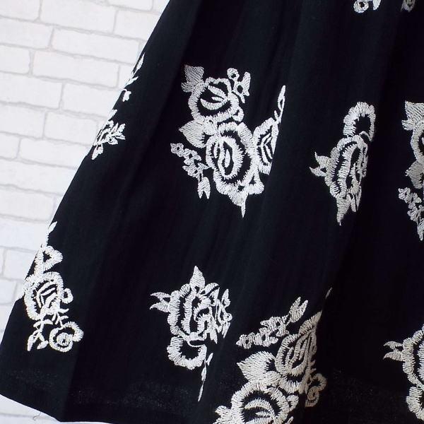 ボトム 春 膝丈 スカート 刺繍 Aライン フレアー 花柄 大人 夏 40代 50代 s2083|visage-souriant1208|06