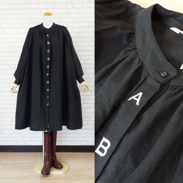 ワンピース アルファベット 刺繍 バルーン シャツ 40代 50代 s2201|visage-souriant1208|03
