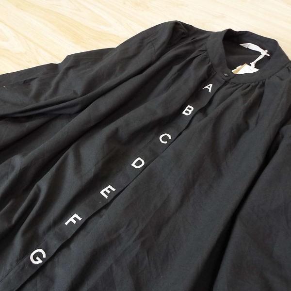 ワンピース アルファベット 刺繍 バルーン シャツ 40代 50代 s2201|visage-souriant1208|05