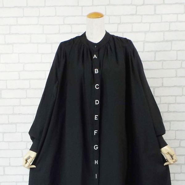 ワンピース アルファベット 刺繍 バルーン シャツ 40代 50代 s2201|visage-souriant1208|06