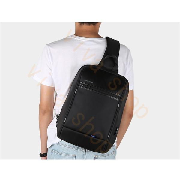 ボディーバッグ ビジネスバッグ ショルダーバッグ メンズ レディース 大容量 多機能 斜め掛け 学生 通学 通勤 旅行 撥水加工 アウトドア 軽量 USB充電ポート|viva-v1|11