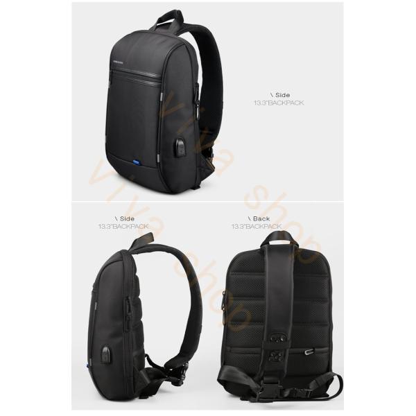 ボディーバッグ ビジネスバッグ ショルダーバッグ メンズ レディース 大容量 多機能 斜め掛け 学生 通学 通勤 旅行 撥水加工 アウトドア 軽量 USB充電ポート|viva-v1|05