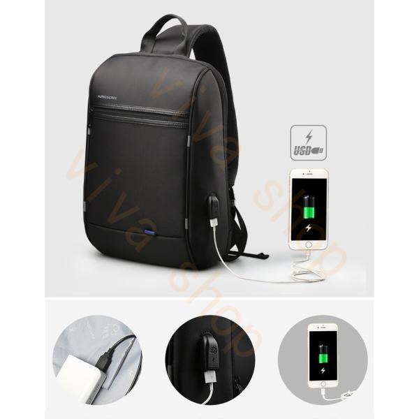 ボディーバッグ ビジネスバッグ ショルダーバッグ メンズ レディース 大容量 多機能 斜め掛け 学生 通学 通勤 旅行 撥水加工 アウトドア 軽量 USB充電ポート|viva-v1|09