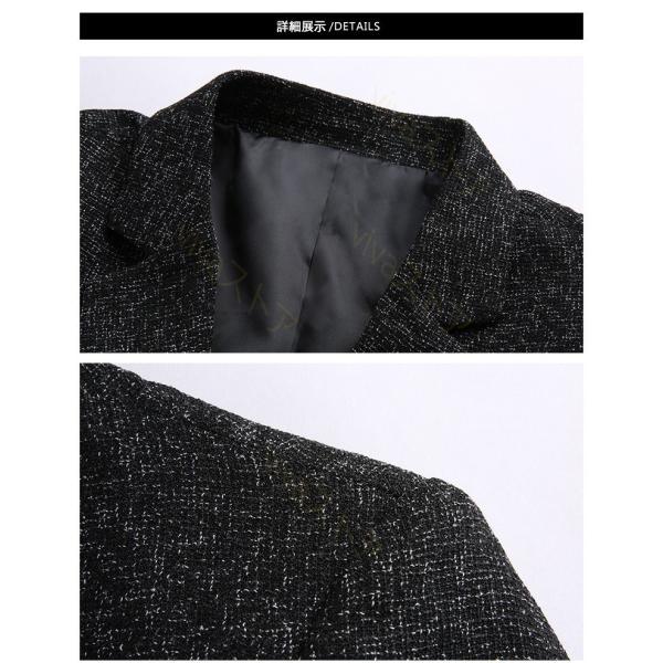 テーラードジャケット メンズ テーラード ジャケット ブレザー スーツ チェック柄 長袖 ビジネス 紳士用 通勤 カジュアル アウター jacket 細身 春 秋 viva-v1 08