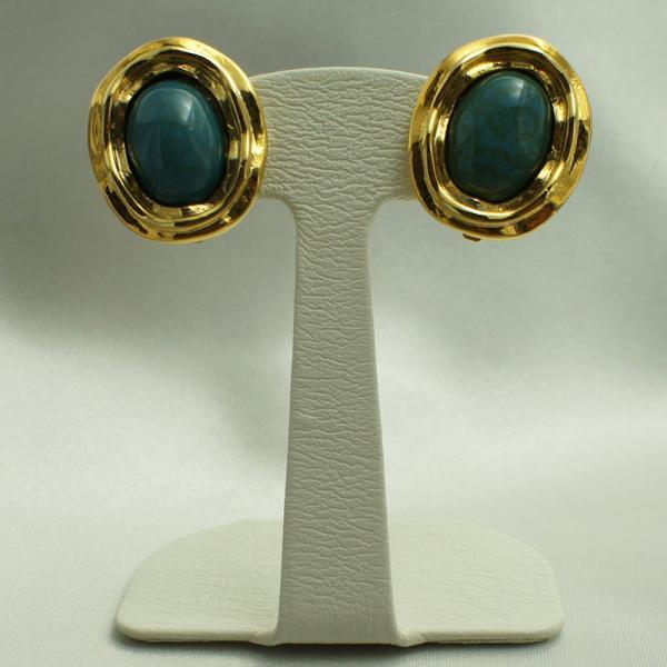 イタリア製 プラスティックビーズ イヤリング 小判型 板バネクリップイヤリング ブルー・ゴールド
