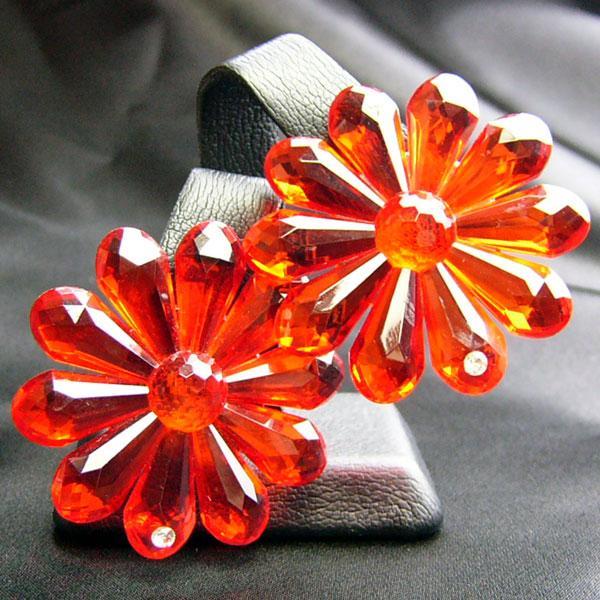 イヤリング ドイツ製 プラスティク  クリップ ミス デイジー レッド