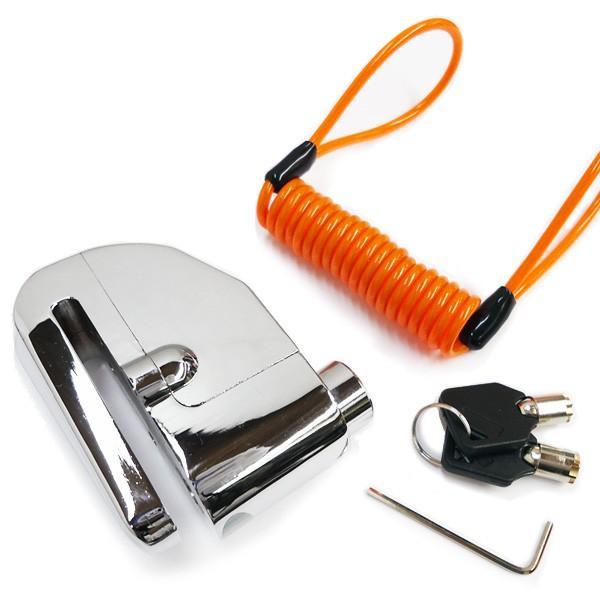 バイク盗難防止 110dBアラーム付 ディスクロック 電池交換可能 取り忘れチェーン付属 ストッピングワイヤー|vivaenterplise|09