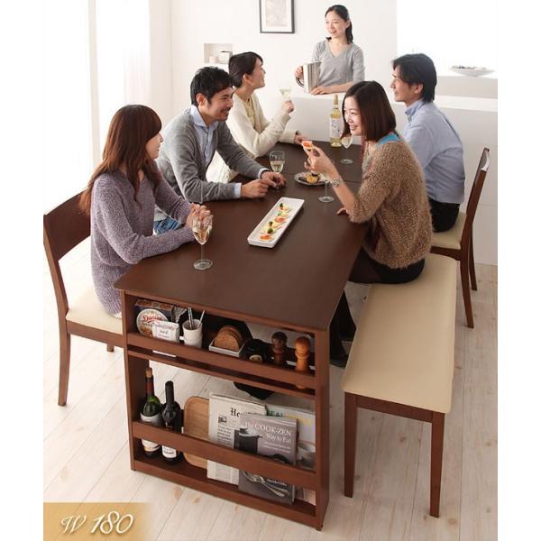 ダイニングテーブルセット 6点セット 伸縮 収納ラック付き ダイニングセット Dream.3|vivamaria|02