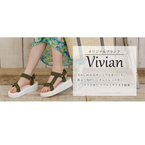 Vivian ヴィヴィアン ベルクロ スポーツ 厚底 サンダル 低反発インソール 歩きやすい レディース 靴|vivian-collection|02