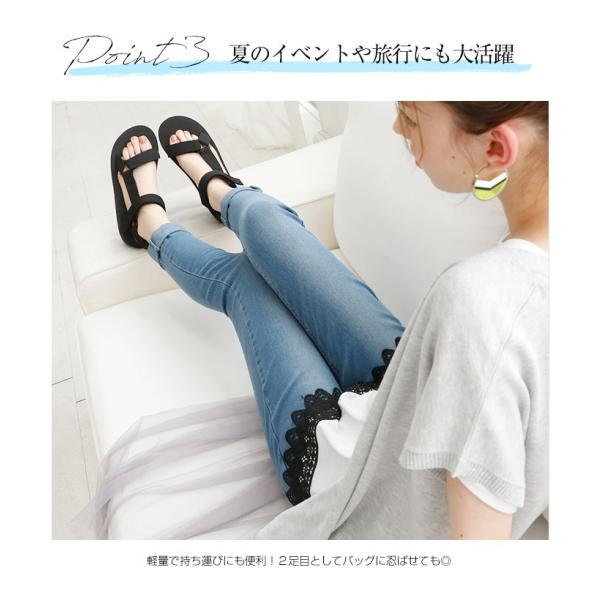 Vivian ヴィヴィアン ベルクロ スポーツ 厚底 サンダル 低反発インソール 歩きやすい レディース 靴|vivian-collection|11