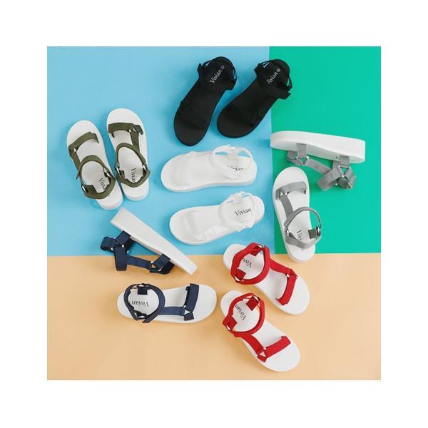 Vivian ヴィヴィアン ベルクロ スポーツ 厚底 サンダル 低反発インソール 歩きやすい レディース 靴|vivian-collection|07