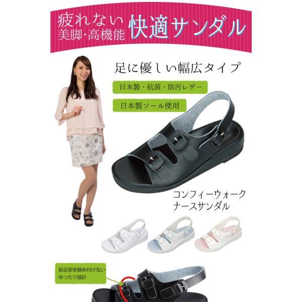 立ち仕事 疲れにくい ナースサンダル オフィスサンダル 日本製   コンフィーウォーク   カップインソール 衝撃吸収 土踏まず 中足骨パッド 歩きやすい 外反母趾