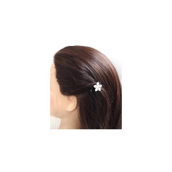 ヘアクリップ ミニ クリスタル フラワー  髪どめ お花 ヘアアクセサリー ビーク くちばし ワニクリップ