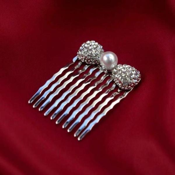コーム SSサイズ パール1粒 ラインストーン リボン  髪飾り ミニ かんざし  着物 和装 パーティー結婚式