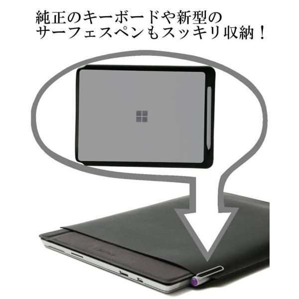 Surface Pro スリーブ ケース レザー 青 高品質高性能 軽 薄 皮 革 全7色 12.3 インチ スリップイン タブレット PC カバー 4 サーフェス プロ ネイビーブルー|vm-case|10