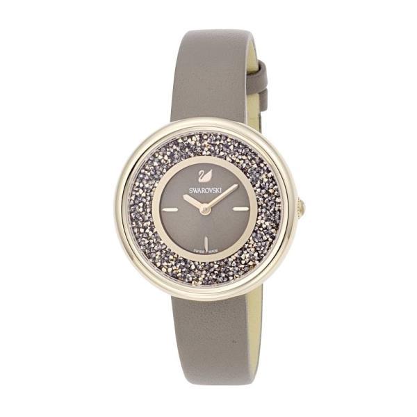 スワロフスキー 腕時計 レディース SWAROVSKI レザー グレー/ローズゴールド