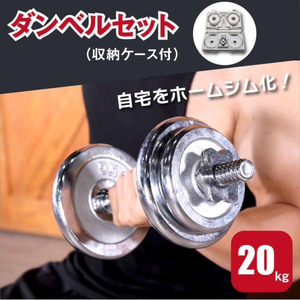 ダンベル 2個セット 可変式ダンベル 20kg(10kg×2セット) 鋳鉄製 クロームメッキタイプ 収納ケース付 Absport(エービースポーツ) BDB-20C