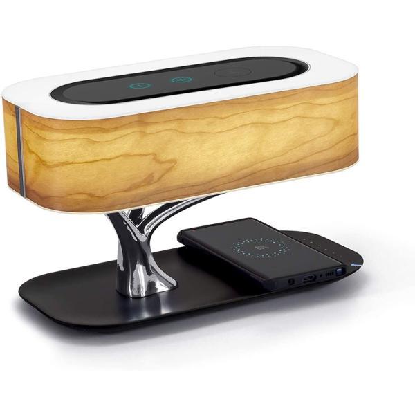 木の光 テーブルランプ ブルートゥーススピーカー、無線充電、睡眠モード、無段光度調節機能付きの床頭台ランプ
