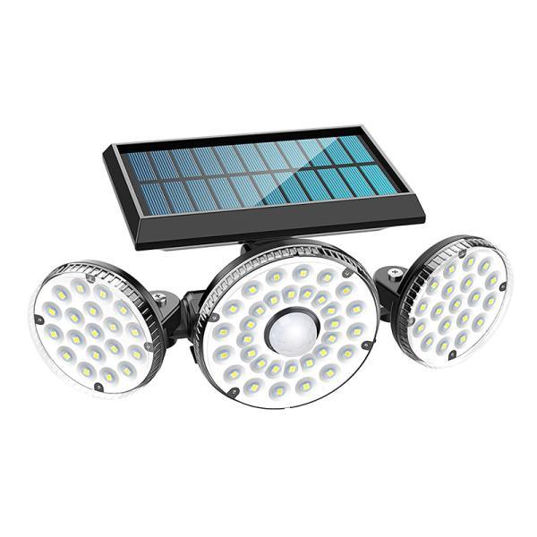 センサーライト 屋外 ソーラーライト, MPJ 3灯式 ガーデンライト 高輝度 70LED 270°角度調整可能 IP65防水 自動点灯消灯 光+人感センサー 大容量バッテリー