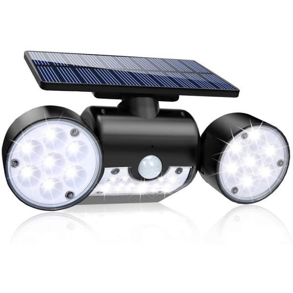 人感 センサーライト ソーラー led ライト 高輝度 30led 350°角度調整可 IP65防水 長時間点灯可 3面発光 壁掛け 自動点灯消灯 電気代不要 屋外照明 設置簡単